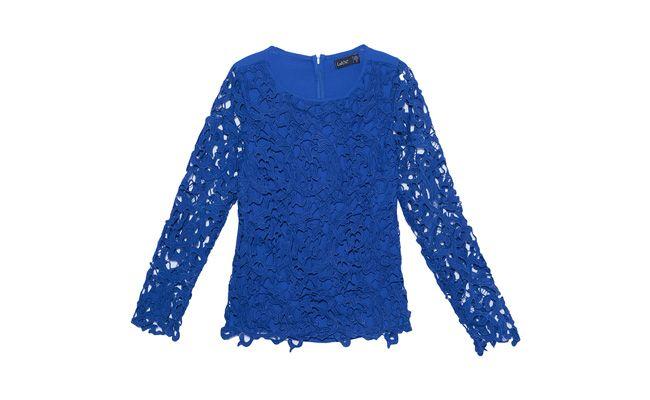 "Top live guipure azul por R$305,90 na <a href=""http://www.oqvestir.com.br/top-live-guipure-azul-35513.aspx/p"" target=""_blank"">Oqvestir</a>"