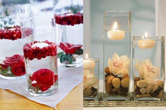 Centro de mesa com velas flutuantes