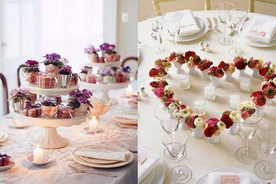 Centro de mesa romântico e criativo
