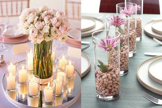 Combinação com flores, velas e sementes