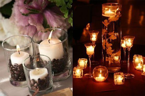 Centro de mesa com velas