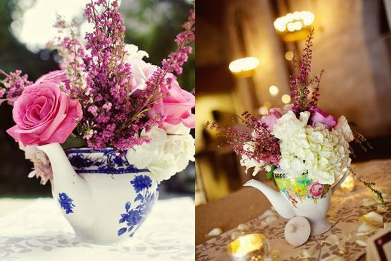 Centro de mesa  com bules de porcelana
