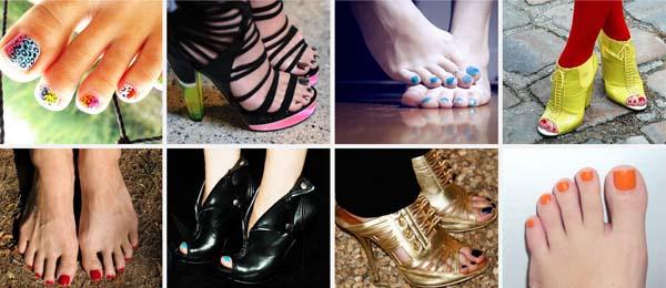 esmaltes pes coloridos Esmaltes coloridos nos pés