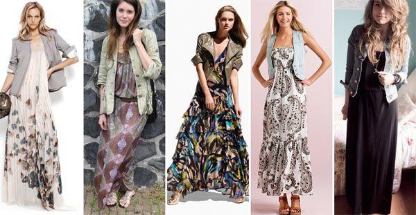 maxidress colete jaqueta Combinações com vestido longo