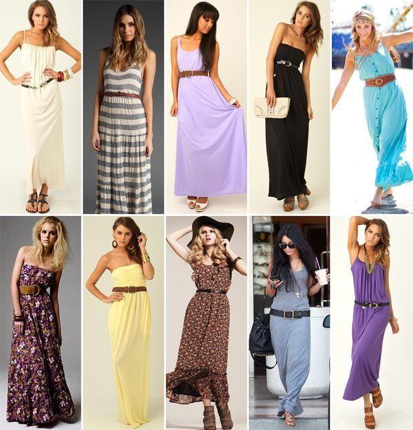 maxidress com cinto Combinações com vestido longo
