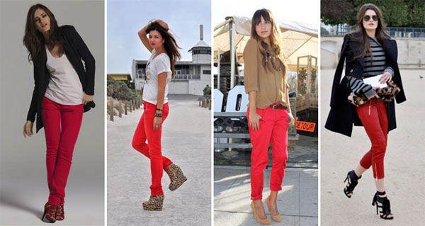 calça vermelha modelo1 Calça vermelha é a peça da vez