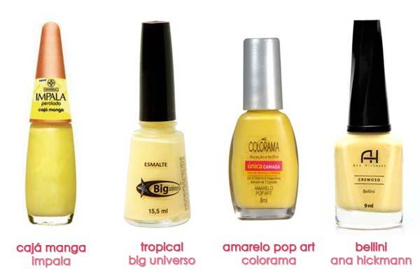 amarelos nacionais Esmalte amarelo é tendência