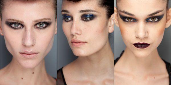tendência maquiagem inverno olho esfumado e glitter Maquiagem para o inverno 2011