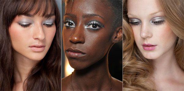 tendência maquiagem inverno sombra prateada Maquiagem para o inverno 2011
