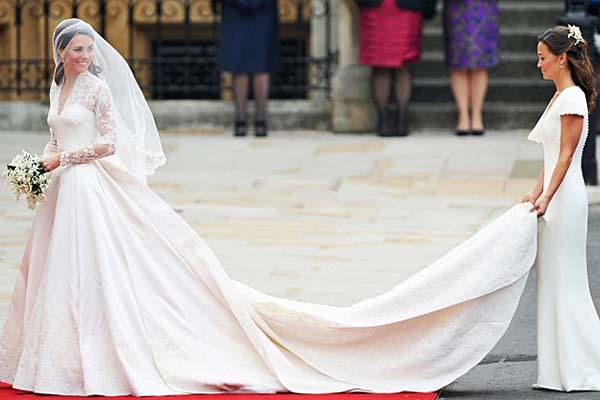 vestido kate cauda O vestido de noiva de Kate Middleton