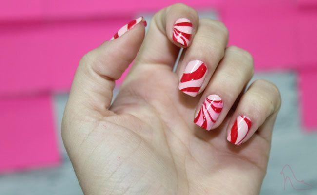 marble nails Unhas marmorizadas