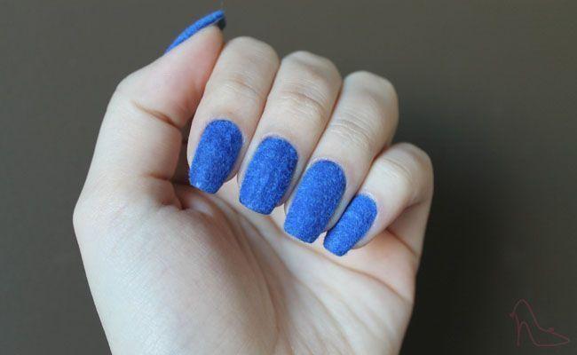 unhas de veludo azul Unhas de veludo