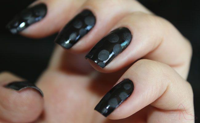 unha decorada com poa fosco 0 Unhas decoradas com poá fosco
