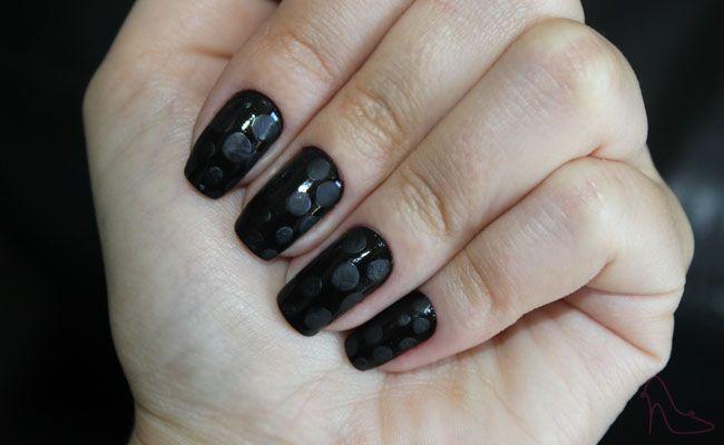 unha decorada com poa fosco Unhas decoradas com poá fosco