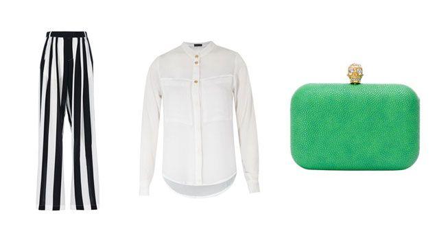 Look 4 Preto e branco na calça listrada: clássico e ousado