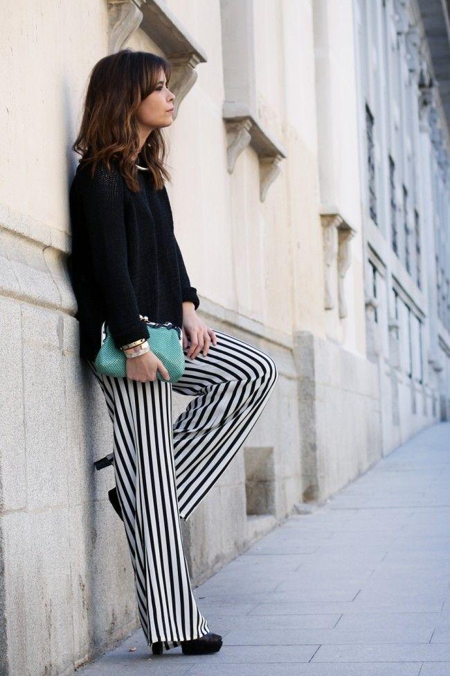look calca listrada 01 Preto e branco na calça listrada: clássico e ousado