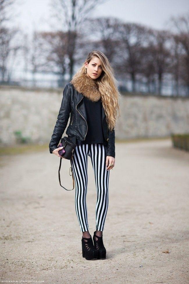 look calca listrada 03 Preto e branco na calça listrada: clássico e ousado