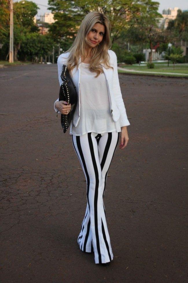 look calca listrada 04 Preto e branco na calça listrada: clássico e ousado