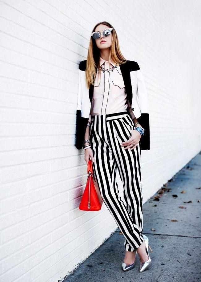 look calca listrada 05 Preto e branco na calça listrada: clássico e ousado