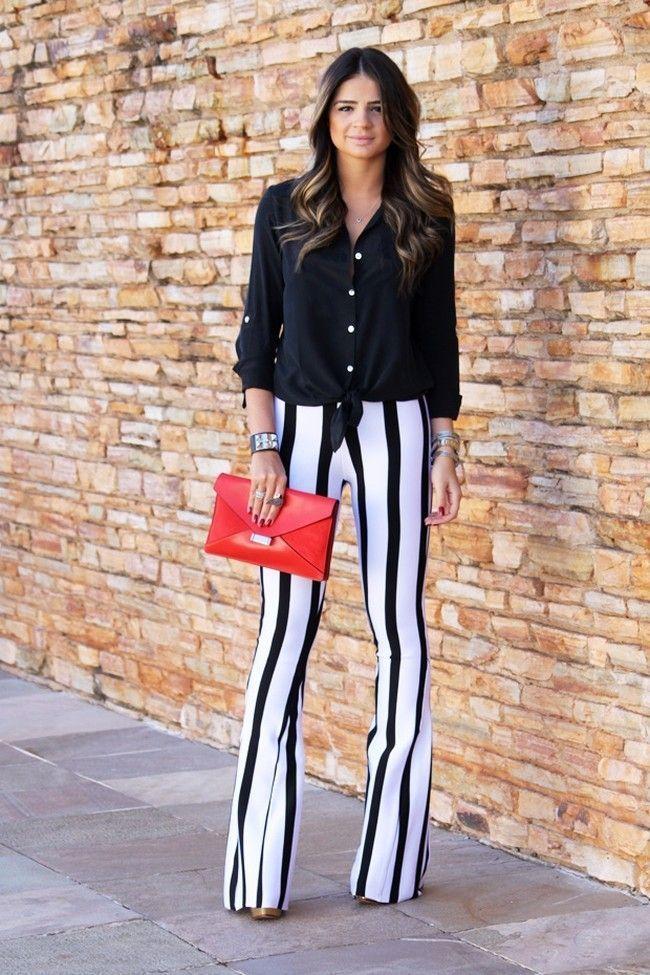 look calca listrada 06 Preto e branco na calça listrada: clássico e ousado