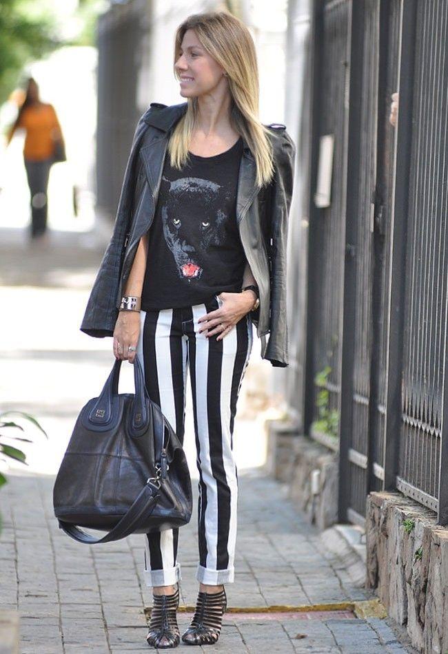 look calca listrada 13 Preto e branco na calça listrada: clássico e ousado