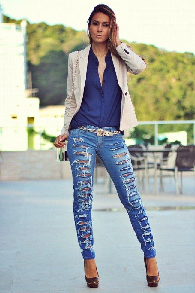 jeans destroyed como usar o jeans destru do no look dicas de mulher. Black Bedroom Furniture Sets. Home Design Ideas