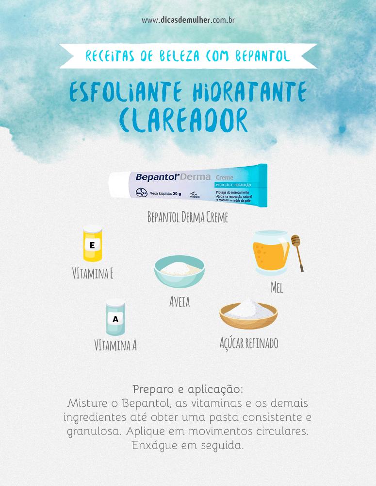 Esfoliante facial hidratante e removedor de manchas com Bepantol