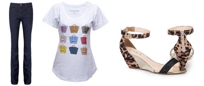 Calça jeans flare por R$79,90 na Dafiti | T-shirt por R$50 na The Boutique | Sandália por R$79,99 na Passarela