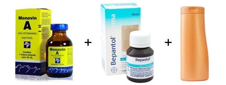Xampu bomba: Monovin A + Bepantol Derma Solução + Xampu