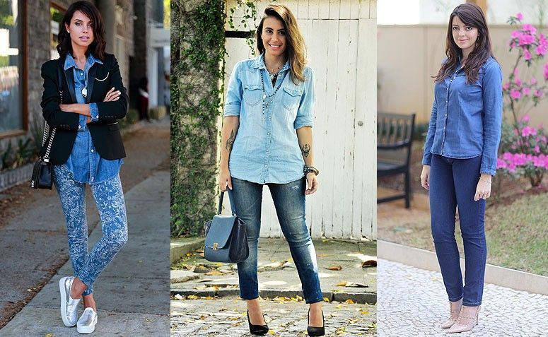 Resultado de imagem para Camisa Jeans Feminina