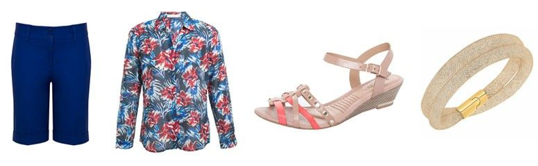 Bermuda por R$129,50 na Capitollium | Camisa por R$297 na Richards | Sandália por R$109,90 na Dafiti | Bracelete por R$399 na Swarovski