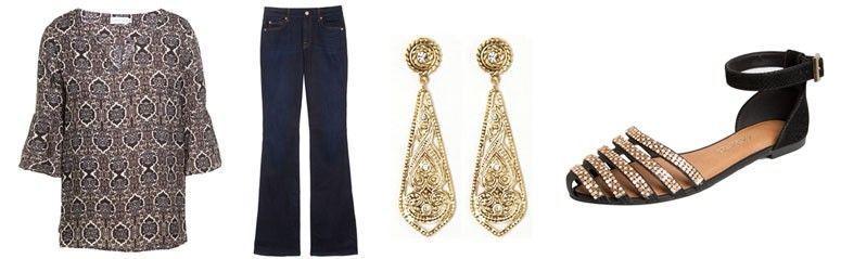 Bata por R$179 na Oqvestir |Jeans por R$931 na Oqvestir | Brinco por R$79 na Capitollium | Sapatilha por R$129,99 na Dafiti