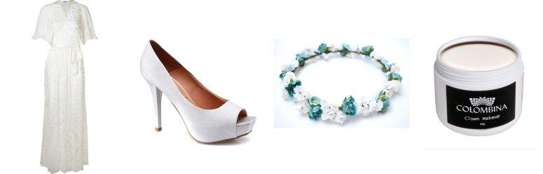 Vestido branco Helo Rocha por R$2.670 na Farfetch | Sapato branco Vizzano por R$99,99 na Rensz | Tiara de flores por R$49 na Elo 7 | Pasta branca para maquiagem por R$32 na Stela Perfumaria