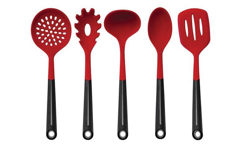 Conjunto de 5 utensílios em silicone com cabo soft touch por R$ 79,90 na Lekssa