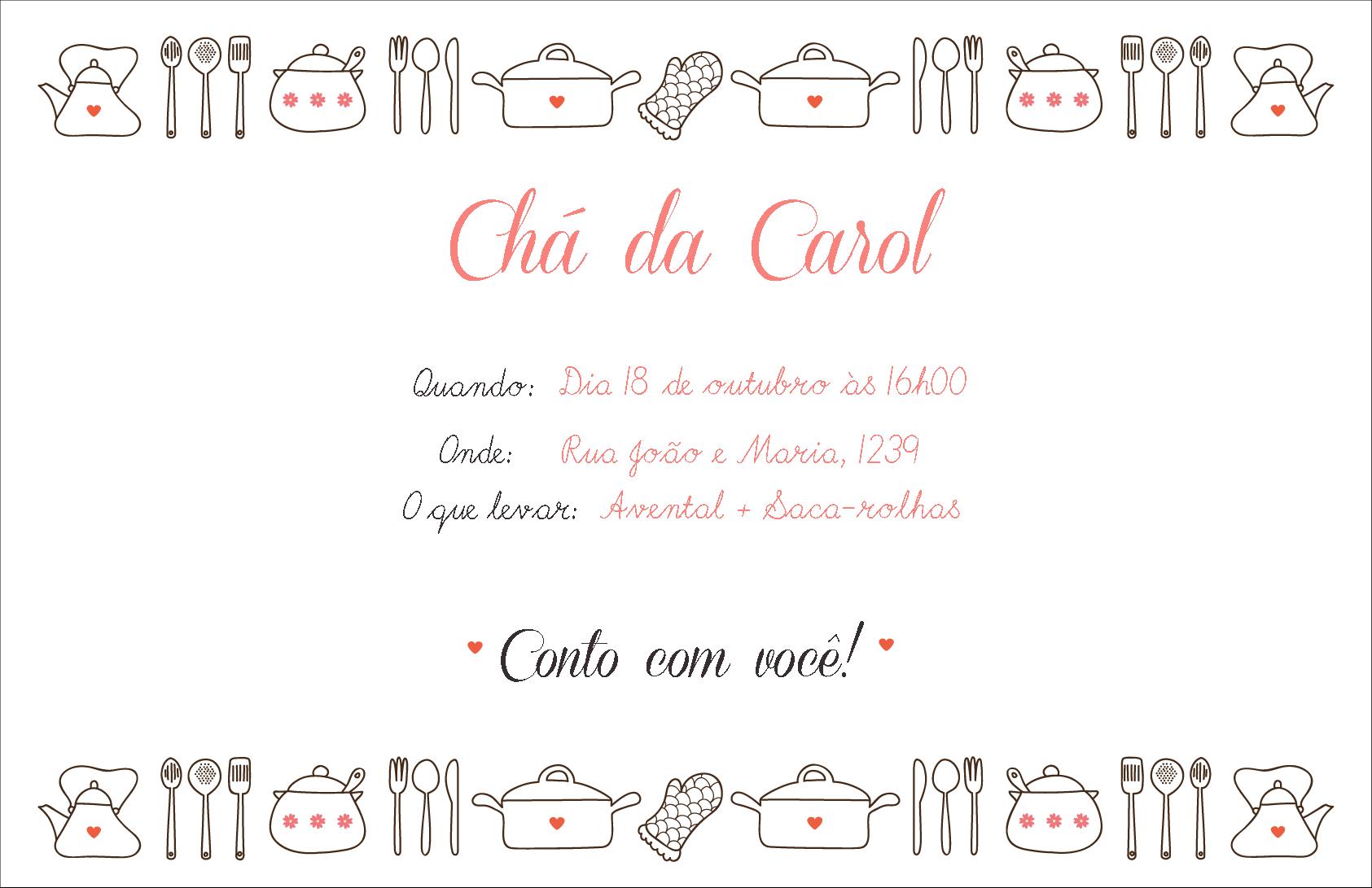Convite Para Ch De Cozinha Ideias Modelos E Inspira Es  ~ Itens Essenciais Para Cozinha