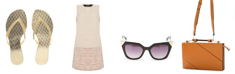 Chinelo Dumond por R$99,90 na Dafiti | Vestido Linen por R$139,90 na Amaro | Óculos Modern por R$109,90 na Amaro | Bolsa envelope por R$129,90 na Amaro