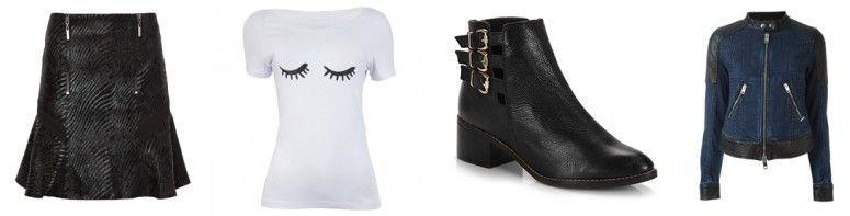 Saia or R$197 na Oqvestir | T-shirt por R$70,50 na Amo Muito | Ankle boot por R$149,99 na Passarela | Jaqueta por R$4060 na Farfetch