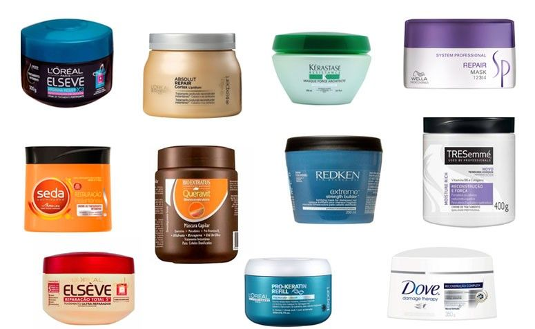Onde encontrar: Elseve Arginina Restituição de Massa / L'Oréal Professionnel Absolut Repair / Kérastase Resistance / Wella Repair Mask / Seda Reconstrução Instantânea / Bio Extratus Queravit / Redken Extreme Strength Builder / Tresemmé Reconstrução e Força / Elseve Reparação Total 5 / L'Oréal Professionnel Pro-Keratin / Dove Reconstrução Completa