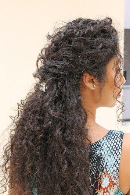 Penteados para cabelos cacheados com presilha