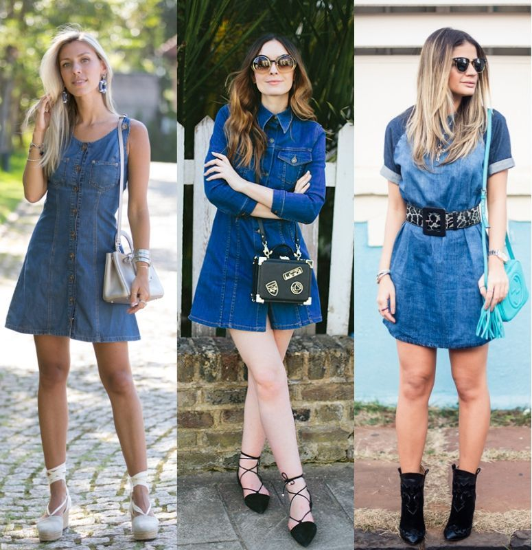 Como usar vestido jeans largo