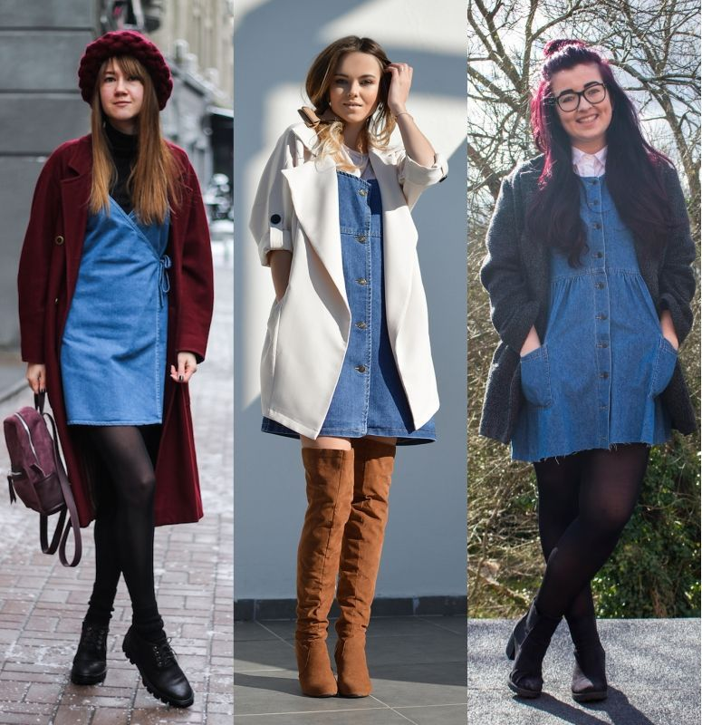 Como usar vestido jeans curto no inverno