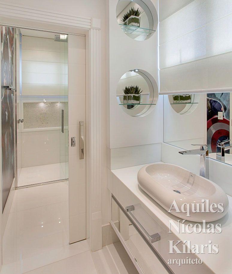Portas de correr uma opção elegante para driblar a falta de espaço -> Banheiro Pequeno Porta De Correr