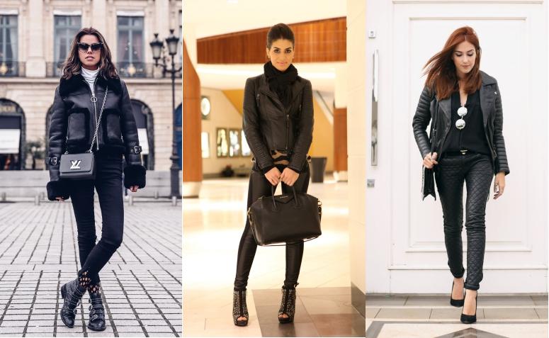 looks jaqueta de couro preta