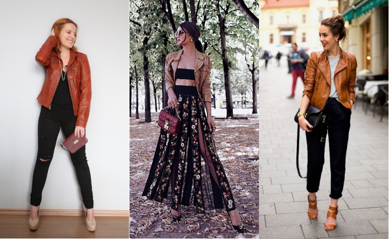looks jaqueta de couro marrom