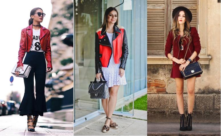 looks jaqueta de couro vermelha