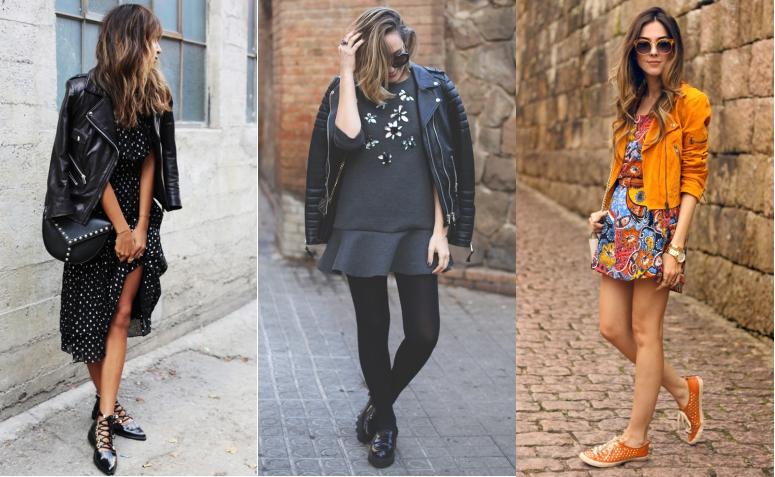 looks jaqueta de couro com vestido