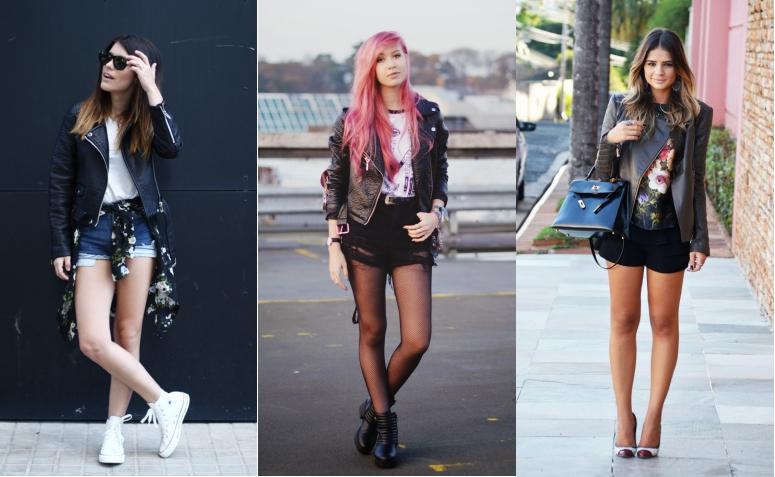 looks jaqueta de couro com shorts