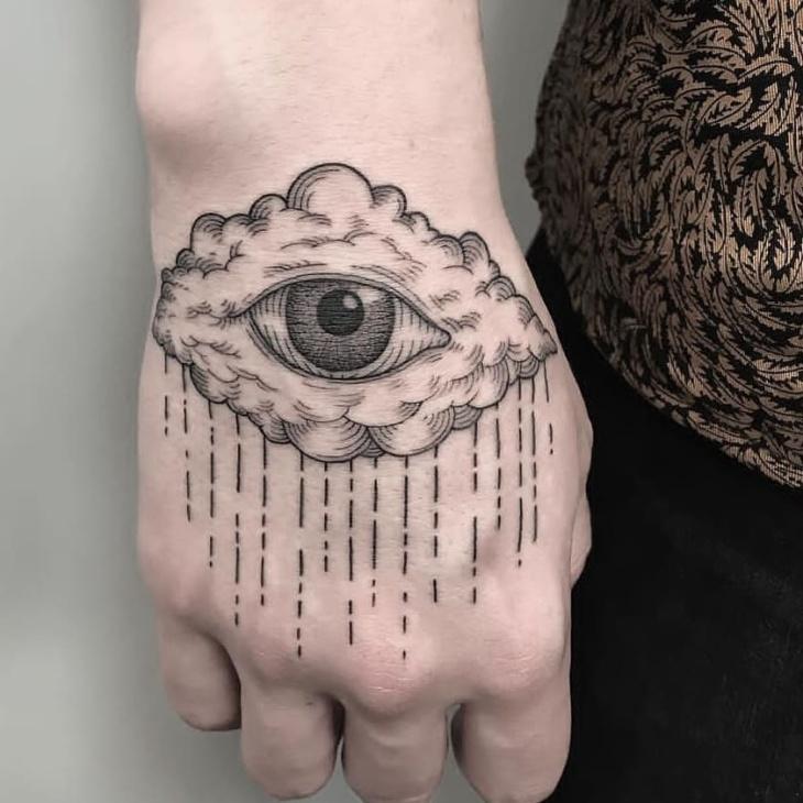 Tatuagem na mão olhos com lágrima