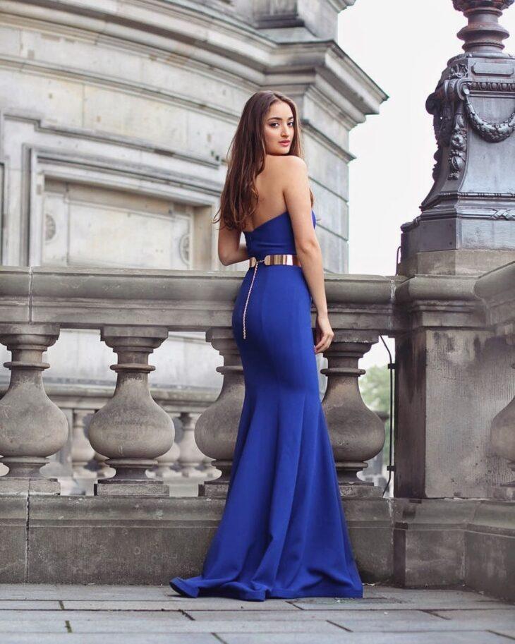 Vestido madrinha azul sereia