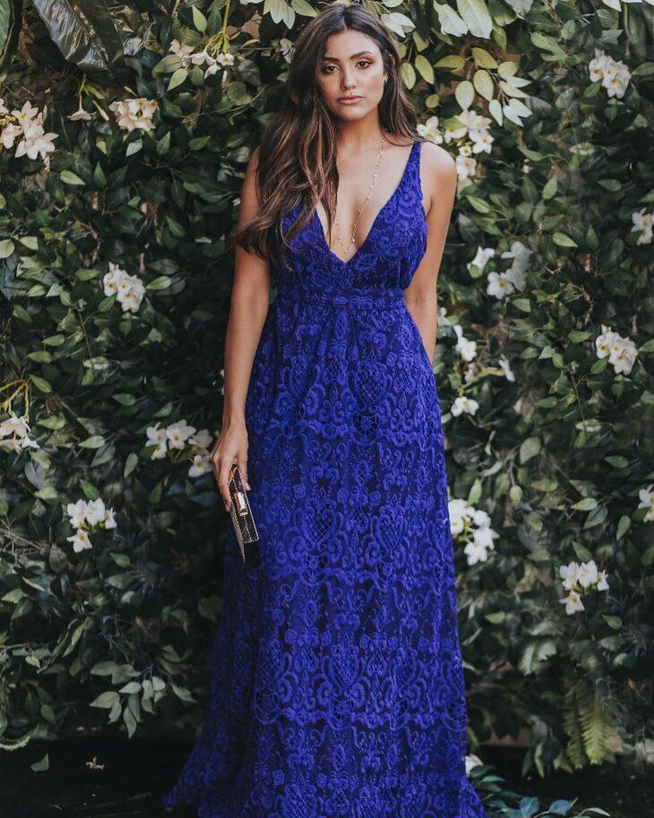 Vestido longo renda azul turquesa